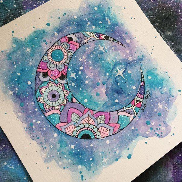 нашла в какой-то группе вк #рисунок #луна #дудл #дудлинг #космос #DIY #лд…