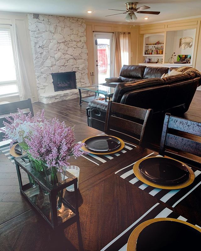 Starter Home In Dallas Texas Table And Couch By Nebraska Furniture Mart Flowers Michaels Setting Ikea Ceiling Fan Lowes