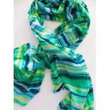 ROMANO gestreepte sjaal in groen met turquoise, 100% katoen met een licht kreukje, 90 x 180cm