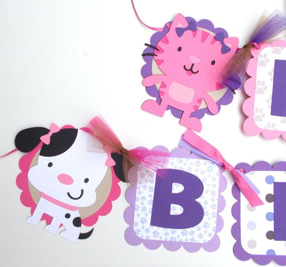 Cat Birthday Banner: Puppy Dog And Kitty Cat Party Cute Girly Themed Happy