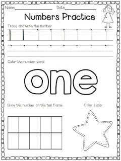I made these number practice pages for my students to use at the beginning of the year.  There are enough pages to last for two week...