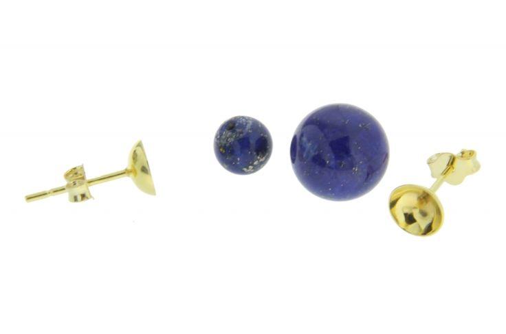 Λάπις λάζουλι (Lapis) μισότρυπα σε χρώμα μπλε και σχήμα σφαιρικό - Λάπις λάζουλι (Lapis) μισότρυπα σε χρώμα μπλε και σχήμα σφαιρικό - Μισότρυπα - Εξαρτήματα για σκουλαρίκια - Εξαρτήματα