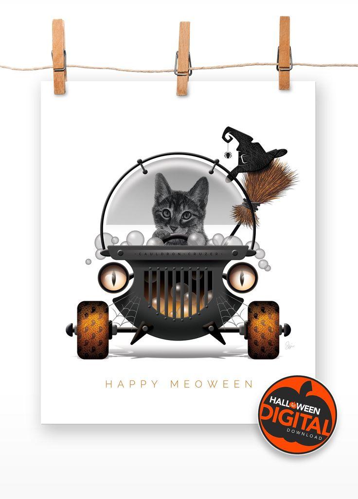 Digital Download | HALLOWEEN CAT Print of 'The Cauldron Cruzer' | Happy Meoween … – HALLOWEEN ART