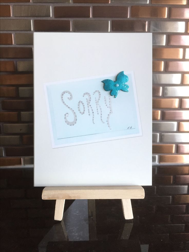 """""""Sorry"""" Embellished Greeting Card Design by Melody Germain of Mt """"Escape"""" Art of Calgary Alberta Canada"""