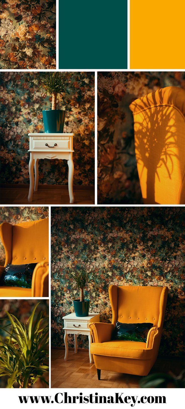 furnishing inspiration floral wallpaper yellow wing chair sequin rh pinterest com