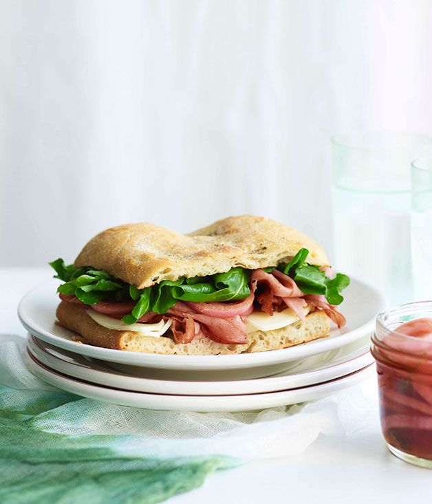 Mortadella sandwich with pickled onions and provolone :: Gourmet Traveller Magazine Mobile