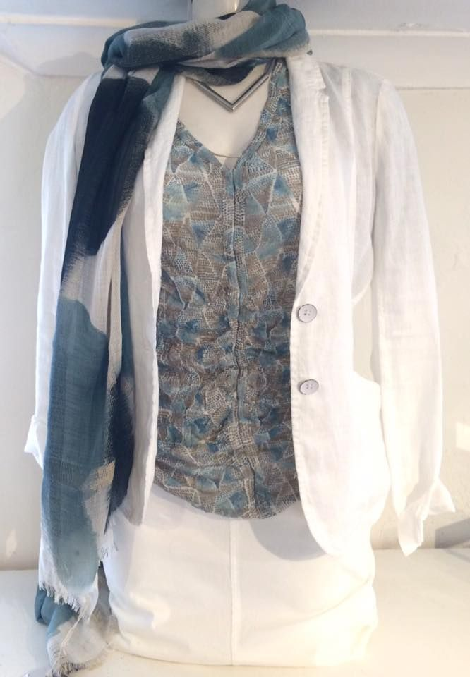 A fab casual outfit! Blues on white are great colours for summer. Sandwich white linen jacket £119.00. PartTwo white cotton skirt £54.95. Sandwich blue & taupe patterned top £55.00. Tutti&Co scarf £33.00. Choker £34.95.