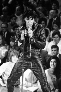"""The '68 Comeback Special produced """"one of the most famous images"""" of Presley.[171] Taken on June 29, 1968, it was adapted for the cover of Rolling Stone in July 196"""