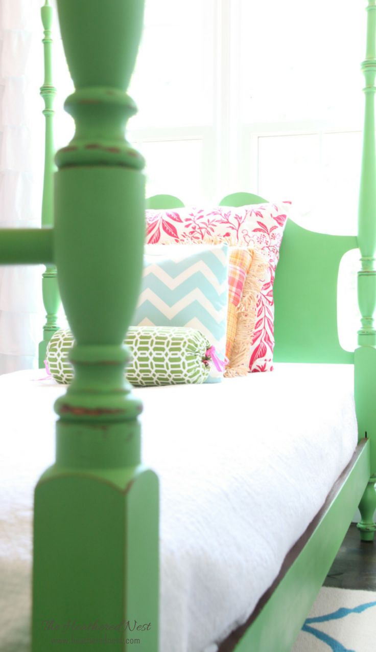 "Heathered Nest's ""hitchhiker"" four poster bed makeover with Antibes Green chalk paint"