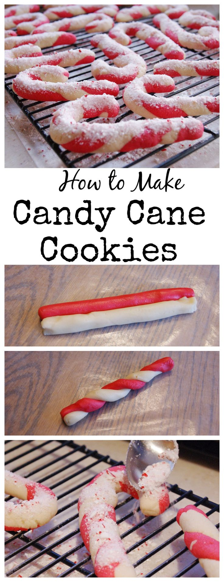 How to Make Classic Candy Cane Cookies for Christmas ~ step-by-step. www.thekitchenismyplayground.com