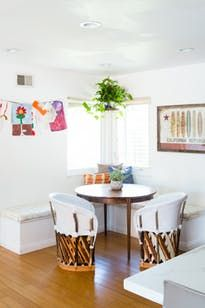 corner dining nook with laid-back California vibe