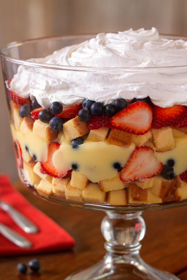 Fresh Berry Trifle – In this recipe, fresh strawberries and blueberries are layered with pound cake and creamy pudding to make a luscious, crowd-pleasing dessert.
