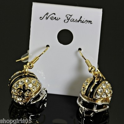 Fleur De Lis New Orleans Saints Football Helmet With Rhinestone Gold Silver Color Earrings Would Look Great Your Outfit Really Cute Pinteres