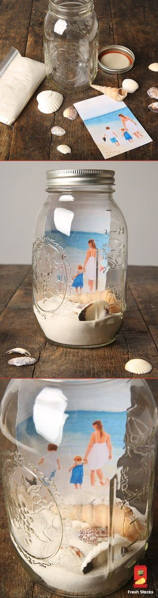 """Mason jar DIY """"memory jar"""" picture frames for photos of family and friends - homemade gift idea!"""