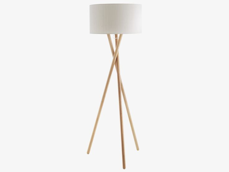 LANSBURY NATURAL Ash Ash wooden tripod floor lamp base - HabitatUK