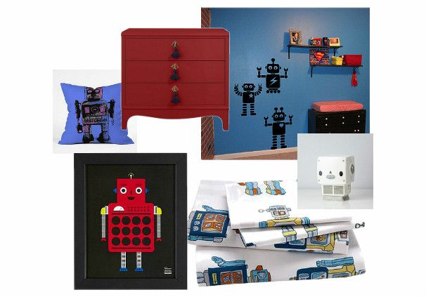 Click to see all the products used to create this lovely Boys Room Robots a Nursery can also be designed the same way.