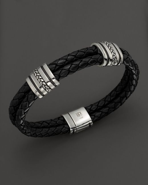 J. Goodman Sterling Silver Black Leather Braided Bracelet