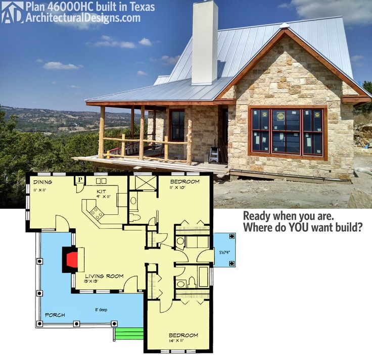 "Architectural Designs Hill Country House Plan 46000HC gives you 2 beds and over 1,000 sq. ft. of living. And a great ""L""-shaped porch. Shown client-built in Texas. Ready when you are."