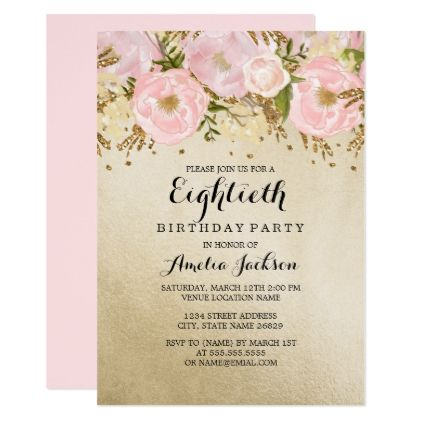 Pretty Blush Gold Pink Floral 80th Birthday Card