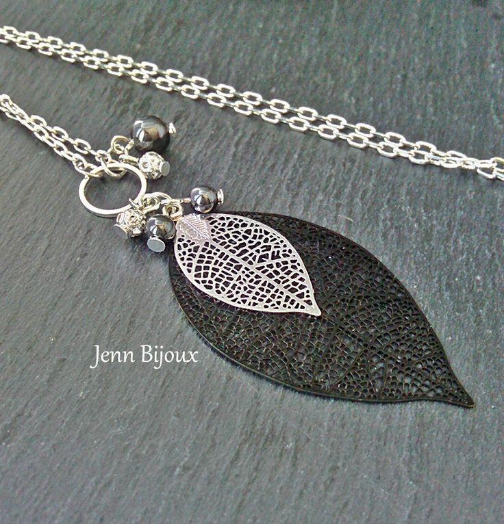 Boucles d'oreilles élégantes en métal argenté et noir , estampe feuille , perles hématite et filigrané et chaîne : Boucles d'oreille par jenn-bijoux-fait-main