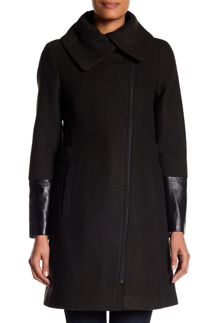Soia & Kyo - Lambskin Leather Detailed Wool Blend Jacket is now 72% off. Free Shipping on orders over $100.