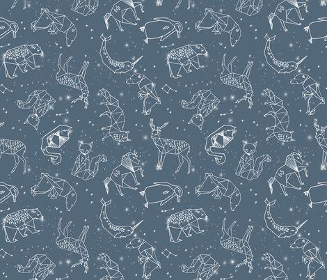 constellations // animal geometric origami illustration blue sky night sky kids nursery baby  fabric by andrea_lauren on Spoonflower - custom fabric