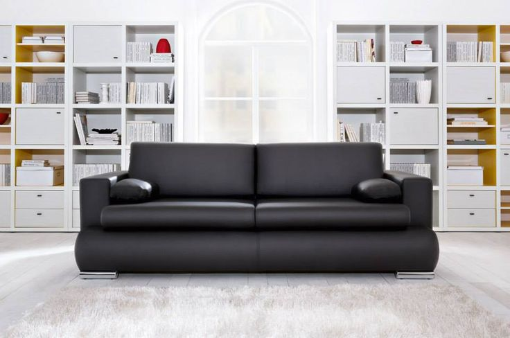 Modern style black leather sofa bed with storage underneath.