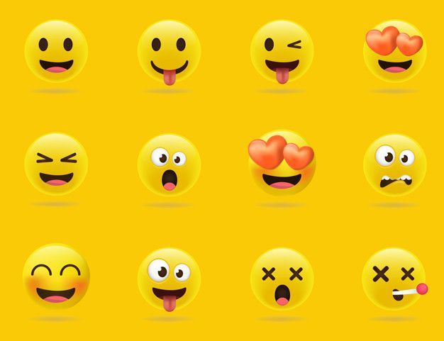 Cartoon Emoji Collection Set Of Emoticons With Different Mood 3d Style In 2020 Emoticon Emoji Cartoon