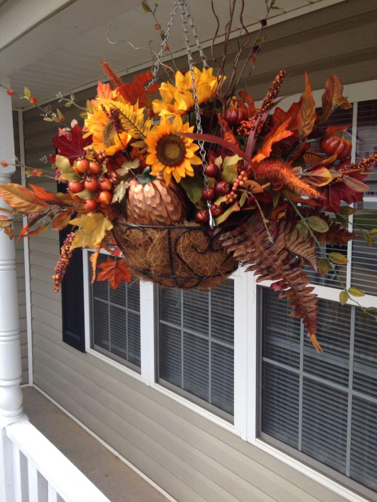 Fall decor hanging basket