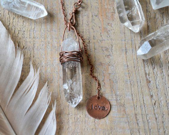 raw quartz point crystal necklace crystal jewelry by OmSaha
