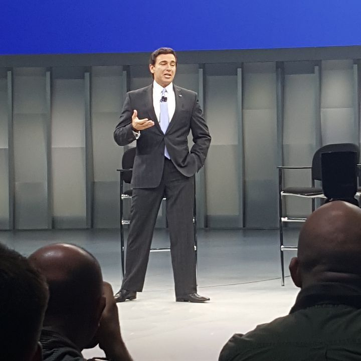 Mark Fields addressing the worldwide media at NAIAS.