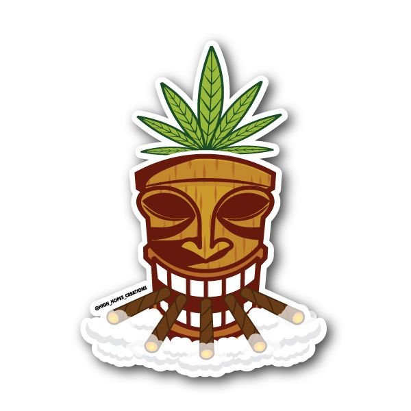 Tiki weed mask with weed leaf sticker vinyl stickers marijuana stickers clear stickers