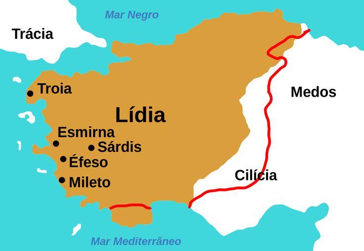 Mapa do Reino da Lídia na antiguidade, com a localização de Éfeso e outras cidades do oeste da Anatólia, hoje território da Turquia.  Fotografia: Roke.