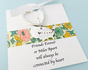 Best Friends Keychain, Personalized United States Keychain, Moving Away Gift, Friends Gift, Long Distance