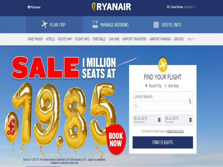 ryan airline discounts - flights in Europe
