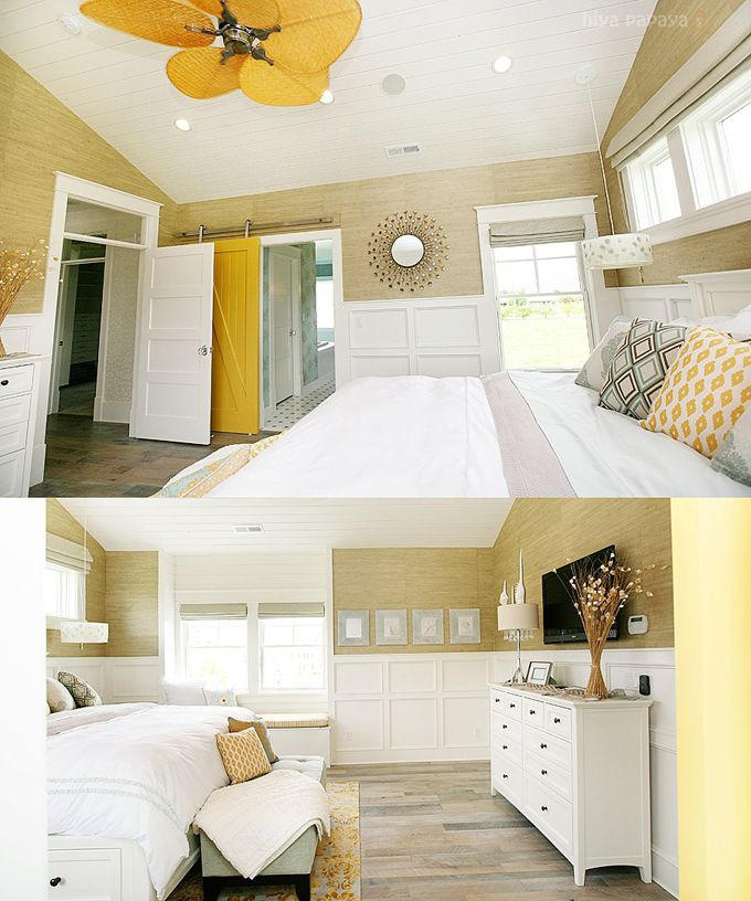 Beautiful master with glorious yellow barn door..  home featured in Utah parade of homes