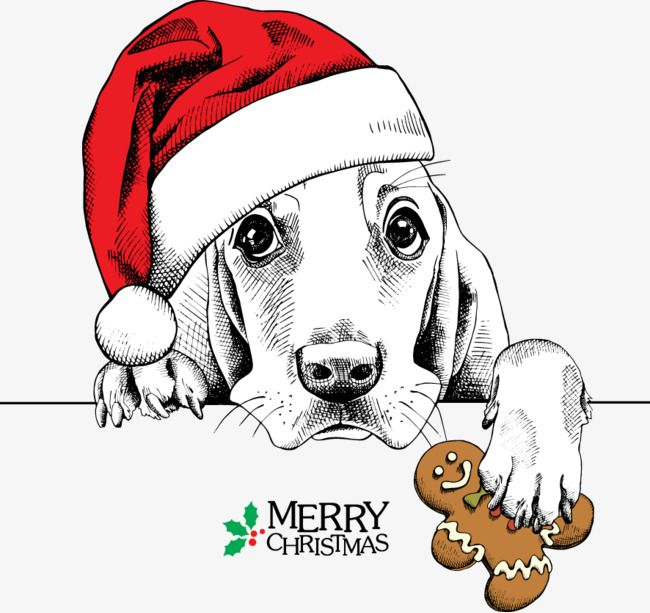 Dog With Santa Hat Clipart