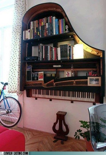 funny real estate - Your Daily Bookcase: All Tuned Up: Bookshelves, Idea, Grand Piano, The Piano, Old Piano, Book Shelves, Grandpiano, Music Rooms, Bookca