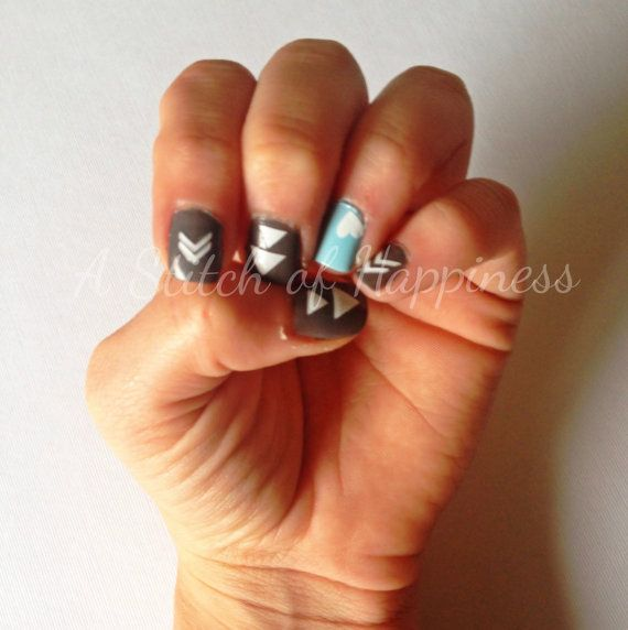 Tribal Nail Decals Tribal Nail Art Vinyl by AStitchofHappiness