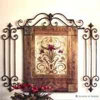iron wall decor, red accents