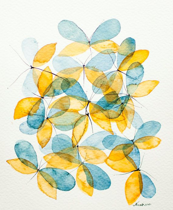 Blue yellow butterflies abstract Original by NORAillustration