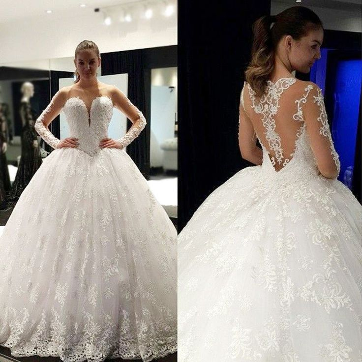 Cheap Stunning Scoop Neck Long Sleeve Lace Ball Gown Wedding Dresses, – SposaDesses