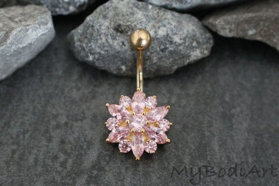 Gold Belly Ring, Gold Navel Ring, Belly Button Jewelry, Navel Jewelry, Paink Clear Crystals, Belly Bar, Non Dangle, Flower, Kawaii, Cute