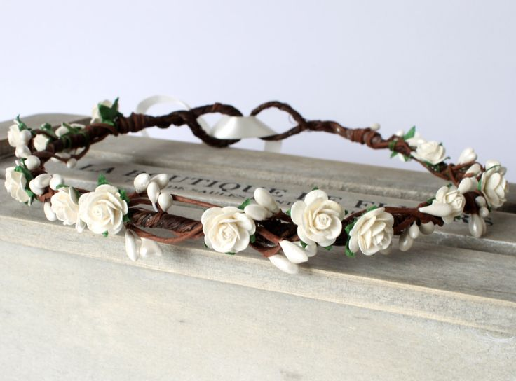 Ivory Rose Flower Crown, Ivory Floral Crown, Flower Girl Flower Crown, Bridesmaid Garland, Wedding floral crown, bridal headwear by Flashfloozy on Etsy https://www.etsy.com/listing/273662204/ivory-rose-flower-crown-ivory-floral