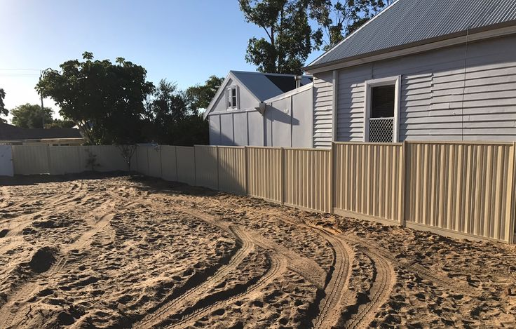 2017 Colorbond fencing installation in Perth, in popular Domain colour, with Allywall Plinths.