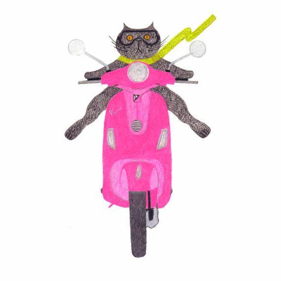 Cat on a Pink Vespa Gift Tags: Set of Six by BlackCatStudioArt