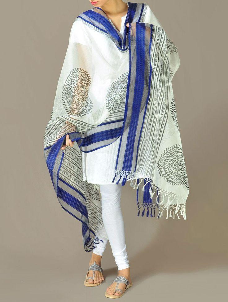 Blue Cotton-Silk Dupatta - Ornamental Paisley