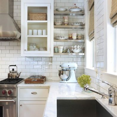 via Houzz: Cabinets, Kitchens Design, Open Shelves, Traditional Kitchens, Countertops, Marbles, White Subway Tile, Stainless Steel, White Kitchens