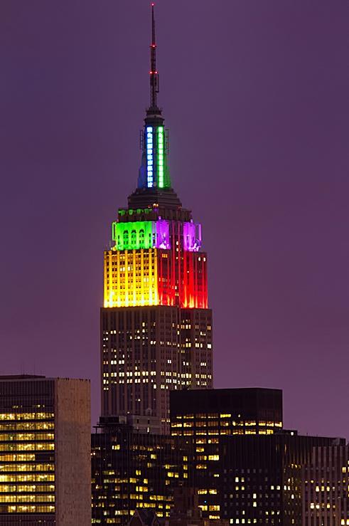 NY NY :-)New York Cities, Kinda Groovy, Empire States Buildings, Groovy Nyc, Empire Rainbows, Empire State Building, Led Lights, Nyc Soo, Rainbows Colors Empire