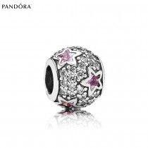 Perle Pandora Pas Cher Étoiles Pavé Rose p0535-20